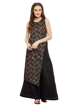 9rasa Black Blended Cotton Palazzo Suit