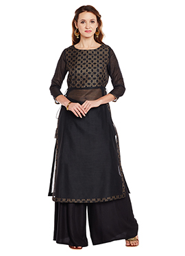 9Rasa Black Chanderi Cotton Long Kurti