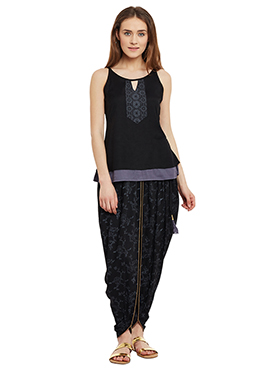 9rasa Black Cotton Dhoti Set