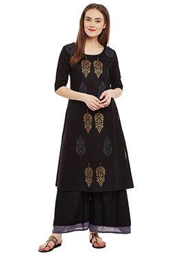 9rasa Black Cotton Palazzo Suit