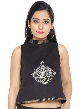 9rasa Black Cotton Tops