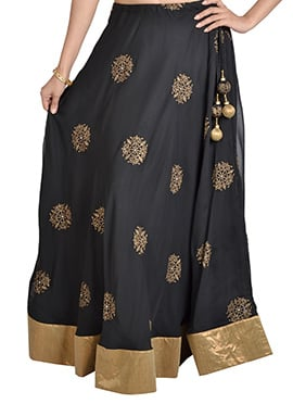9rasa Block Printed Black Georgette Skirt