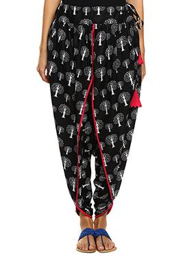 9rasa Black Hand Block Printed Dhoti Pant