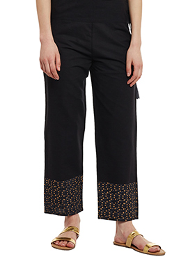 9rasa Black Mangalgiri Cotton Straight Pant