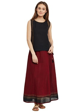9rasa Black N Maroon Cotton Skirt Set