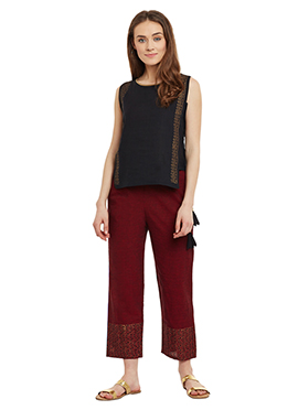 9rasa Black N Maroon Straight Pant Set