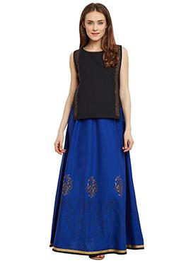 9rasa Black N Royal Blue Cotton Skirt Set