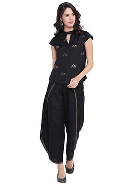 9rasa Black Viscose Dhoti Set