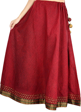 9rasa Hand Block Printed Blended Cotton Red Skirt