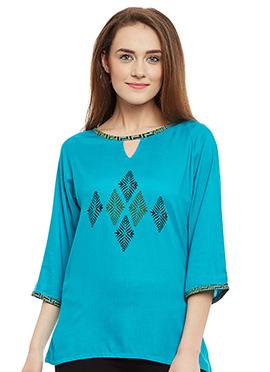 9Rasa Blue Cotton Rayon Top