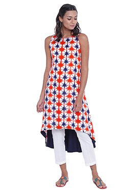 9Rasa Blue N Orange Cotton Knee Length Kurti