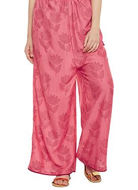 9rasa Coral Pink Cotton Rayon Palazzo Pant