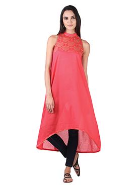 9rasa Coral Pink Yoke Tunic