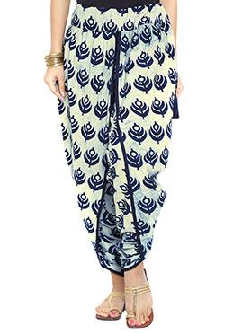 9rasa Cream Hand Block Printed Dhoti Pant
