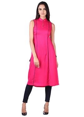 9rasa Fuchsia Pink Cotton Panelled kurti