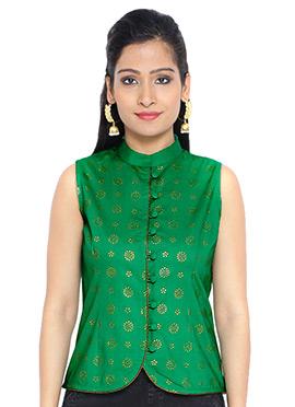 9rasa Green Cotton Foil Printed Top