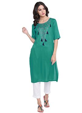 9rasa Green Cotton Knee Length Kurti
