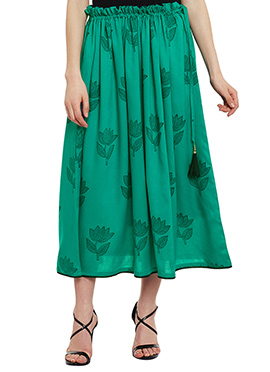 9Rasa Green Cotton Skirt