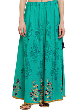 9Rasa Green Cotton Skirt