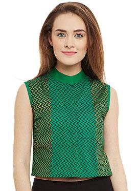 9Rasa Green Cotton Crop Top