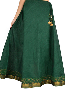 9rasa Green Hand Block Printed Skirt