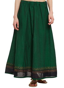 9Rasa Green Mangalgiri Cotton Skirt
