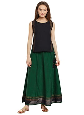 9rasa Green N Black Cotton Skirt Set