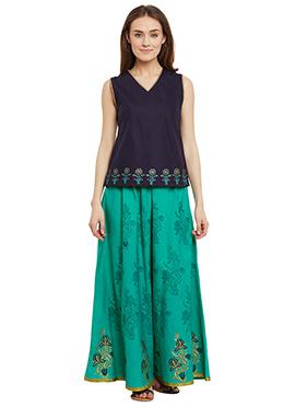 9rasa Green N Navy Blue Cotton Skirt Set