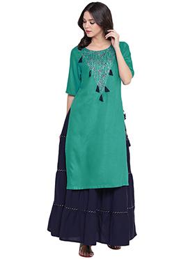 9rasa Green Viscose Skirt Set