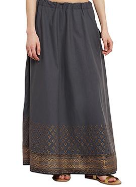 9Rasa Grey Cotton Skirt
