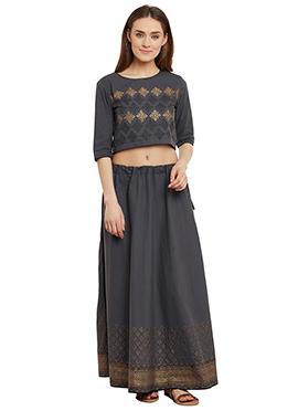 9rasa Grey Cotton Skirt Set