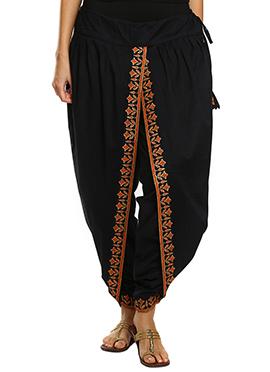 9rasa Hand Block Printed Black Dhoti Pant