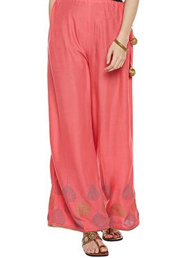 9rasa Light Pink Cotton Palazzo Pant