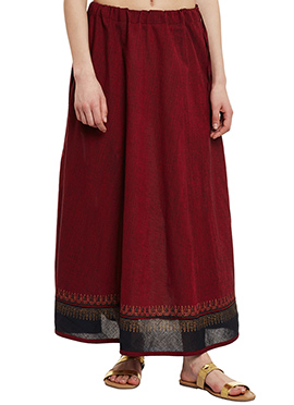 9Rasa Maroon Mangalgiri Cotton Skirt