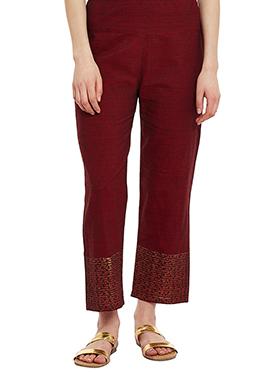 9rasa Maroon Mangalgiri Cotton Straight Pant