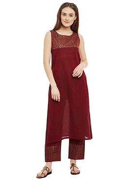 9rasa Maroon Mangalgiri Cotton Straight Pant Suit