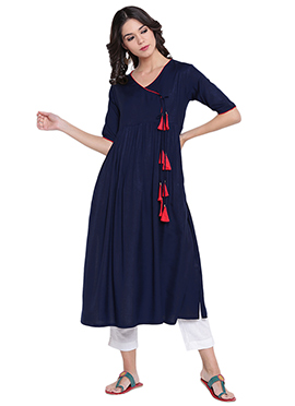 9rasa Navy Blue Cotton Long Kurti