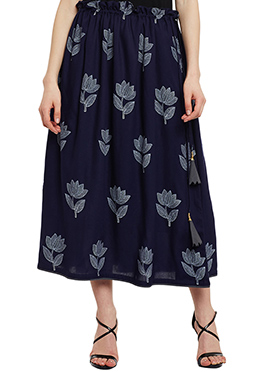 9Rasa Navy Blue Cotton Skirt