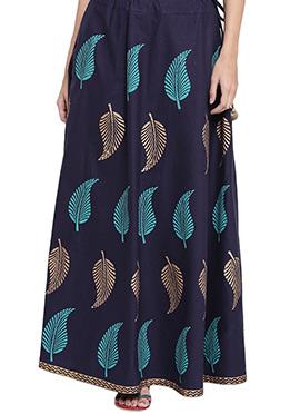 9rasa Navy Blue Cotton Skirt