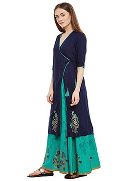 9Rasa Navy Blue Cotton Viscose Anghraka Kurti