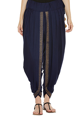 9rasa Navy Blue Cotton Viscose Dhoti Pant