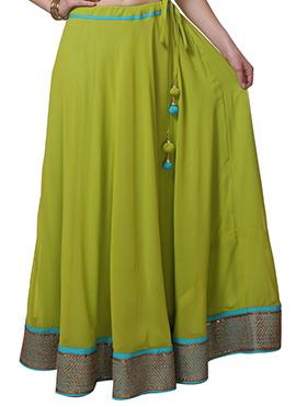 9rasa Olive Green Georgette Skirt