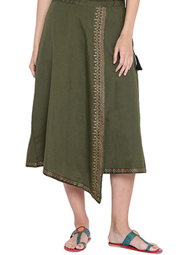 9rasa Olive Green Viscose Skirt