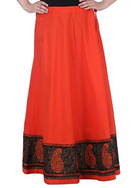 9rasa Orange Cotton Skirt