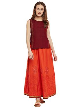 9rasa Orange N Maroon Cotton Skirt Set