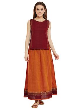 9rasa Orange N Rust Cotton Skirt Set