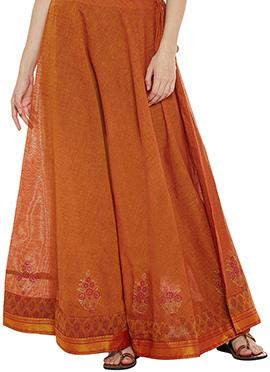 9rasa Orange Polyester Skirt