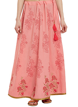 9Rasa Peach Cotton Skirt