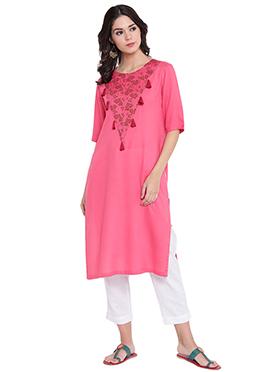 9rasa Pink Cotton Knee Length Kurti