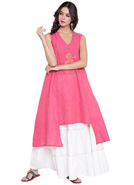 9rasa Pink Cotton Viscose Skirt Set